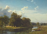 Calm Paintings - A river landscape Westphalia by Albert Bierstadt