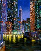 Chicago At Night Paintings - A River Runs Through It by J Loren Reedy