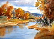 Serene Landscape Painting Originals - A River Runs Through by Mohamed Hirji