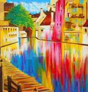 Waterscape Painting Posters - A River Runs Thru Treviso Poster by Susi Franco