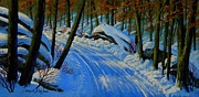 Snow Scene Painting Originals - A Road Still Traveled by Frank Wilson