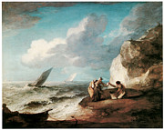 Rocky Coast Paintings - A Rocky Coastal Scene by Thomas Gainsborough