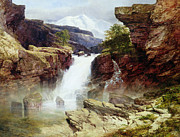 Natural River Posters - A Rocky Torrent Poster by William West