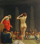 Naked Figure Framed Prints - A Roman Slave Market Framed Print by Jean Leon Gerome