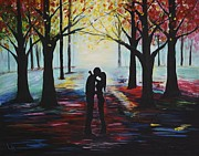Embracing Painting Posters - A Romantic Kiss Poster by Leslie Allen