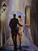 Couples Paintings - A Romantic Stroll by Leslie Allen
