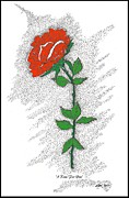 Pen And Ink Drawing Digital Art Metal Prints - A Rose For You Metal Print by Glenn McCarthy Art and Photography