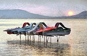 Travel Destinations Paintings - A row of colorful pedal boats on a lake by Odon Czintos