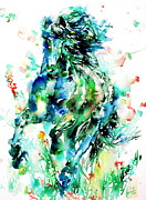 Black Stallion Paintings - A Running Mass Of Living Force by Fabrizio Cassetta