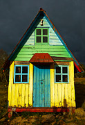 Cabin Window Framed Prints - A Rustic Colorful House Framed Print by Jess Kraft