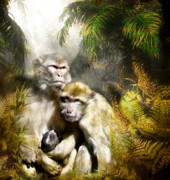 Ape Mixed Media Posters - A Sacred Place Poster by Carol Cavalaris
