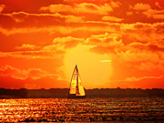 Raymond Salani Iii Posters - A Sailboat at Sunset Poster by Raymond Salani III