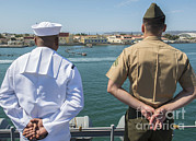 A Sailor And Marine Man The Rails Print by Stocktrek Images