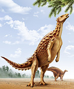 Animal Behavior Digital Art - A Scelidosaurus Standing On Its Hind by Mohamad Haghani