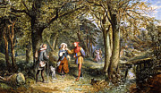 Author Paintings - A Scene from As You Like It Rosalind Celia and Jacques in The Forest of Arden by John Edmund Buckley