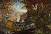 Water Flowing Painting Posters - A Scene on the Tohickon Creek Poster by Thomas Moran