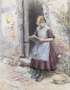 Purple Dress Posters - A School Girl Poster by Myles Birket Foster