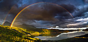 Scottish Highlands Prints - A Scottish Highland Rainbow Kylesku Print by John Farnan