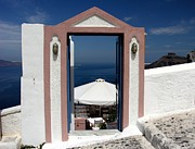 Santorini Framed Prints - A Sea View Framed Print by Mel Steinhauer