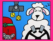 Steering Painting Posters - A Sheep at the Wheel Poster by Naomi TeWinkel