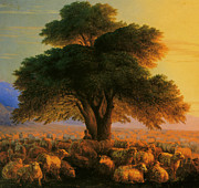 Flock Of Sheep Posters - A Shepherd With His Flock In The Evening Detail Poster by Ivan Constantinovich Aivazovsky