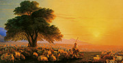 Flock Of Sheep Posters - A Shepherd With His Flock In The Evening Poster by Ivan Constantinovich Aivazovsky