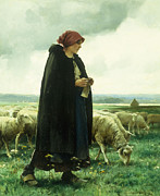 Knitting Framed Prints - A Shepherdess with her flock Framed Print by Julien Dupre