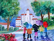 Fushia Painting Framed Prints - A Shower At the Broadmoor Framed Print by Reveille Kennedy
