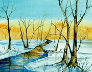 Snowy Brook Paintings - A Sign of Winter by Brenda Owen