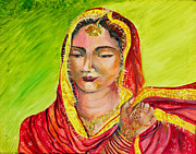 Indian Wedding Paintings - A sikh bride by Sarabjit Singh