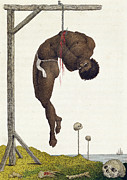 Slavery Prints - A Slave Hung Alive by the Ribs to a Gallows Print by John Gabriel Stedman
