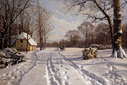 Snow-covered Landscape Painting Posters - A Sleigh Ride through a Winter Landscape Poster by Peder Monsted
