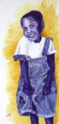 Missing Child Painting Metal Prints - A Smile for You from Haiti Metal Print by Margaret Bobb