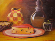 Glass Table Reflection Painting Metal Prints - A Snack with Cheese Metal Print by Anna  Henderson