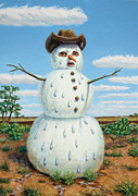 Humor Painting Metal Prints - A Snowman in Texas Metal Print by James W Johnson