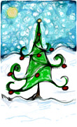 Snowy Pastels Posters - A snowy little tree Poster by Susan George