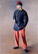 Smoking Cigarette Prints - A Soldier Print by Gustave Caillebotte