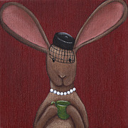 Wall Art Paintings - A Sophisticated Bunny by Christy Beckwith