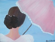 White Dress Painting Originals - A Southern Stroll by Glenda Barrett