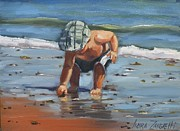 Beach Scene Painting Originals - A Southie Babe by Laura Lee Zanghetti