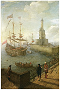 Naples Paintings - A Spanish Three-Decker Anchored at Naples by Abraham Willaerts