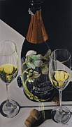 Red Wine Bottle Painting Posters - A Sparkling Celebration Poster by Brien Cole