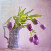 Vase Of Flowers Posters - A Spill of Tulips Poster by Betty LaRue