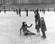 Old Skates Photo Posters - A Spill On The Ice In Central Park Poster by Underwood Archives