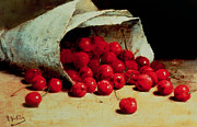 Still Life Paintings - A Spilled Bag of Cherries by Antoine Vollon