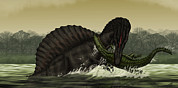 Food Chain Digital Art Posters - A Spinosaurus Catches A Young Poster by Vitor Silva