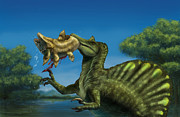 Two Fish Digital Art - A Spinosaurus Dinosaur Fishing by Alvaro Rozalen