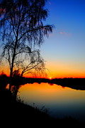 Sunset Reflecting In Water Posters - A Spring Evening Poster by Paul Bettison