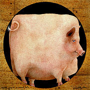 Pigs Framed Prints - A Square Pig In A Round Hole... Framed Print by Will Bullas