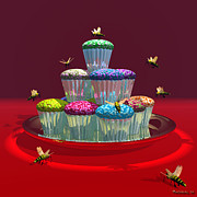 Frosting Digital Art Posters - A Stack of Cupcakes and 7 Mechanical Bees Poster by Walter Neal